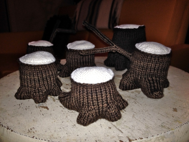Knitted tree stumps