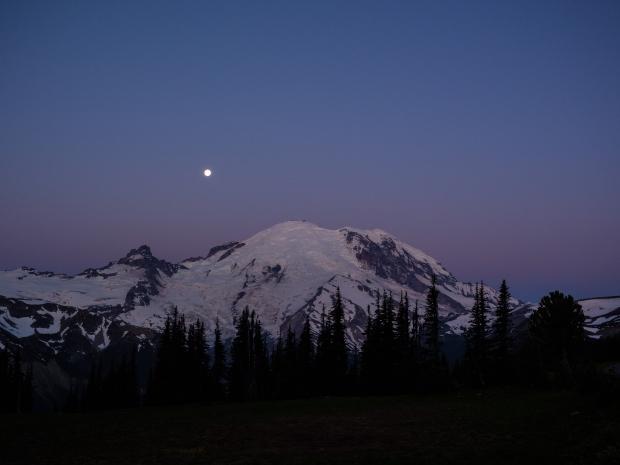 Moon Setting behind Rainier.  Near Sunrise Visitors Center.