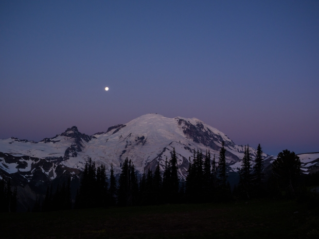 Moon Setting behind Rainier.  Near Sunrise Visitors Center.