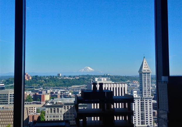 Mt. Rainer out the office window