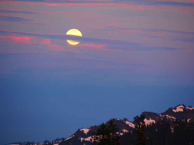 Moon setting behind Mt. Rainier.